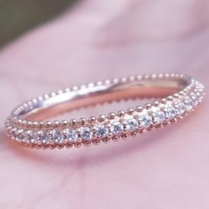 10k Solid Rose Gold Diamond Eternity Band Ring